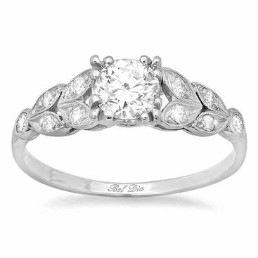 Diamond Leaf Accented Nature Inspired Engagement Ring - click to enlarge