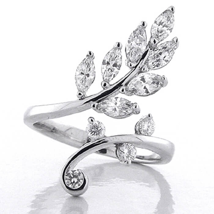 double rings shop leaf ring paris styled finger in