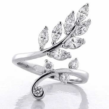 Diamond Leaf Ring - click to enlarge