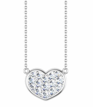 Gold Heart Necklace with Diamonds - click to enlarge
