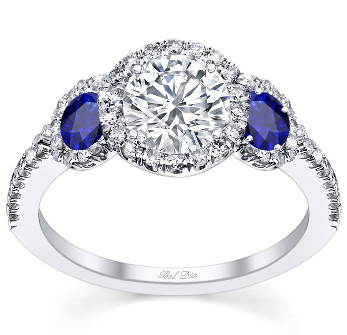 Diamond three stone halo engagement ring with sapphire accents for Wedding ring sets with sapphire accents