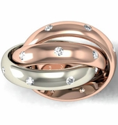 Diamond Two Color Rolling Ring in Gold