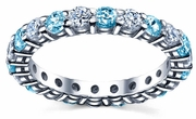 Diamond Wedding Band with Blue Topaz