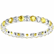Diamond Yellow Sapphire Eternity Ring 1.00cttw