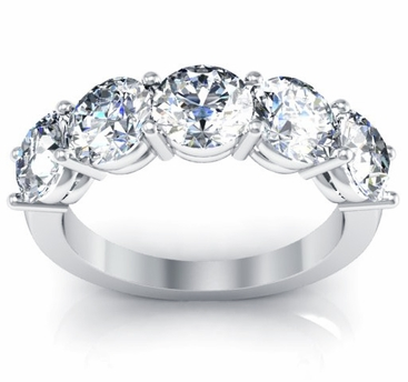Diamonds 5 Stone Ring Round-Cut Diamonds Certified by GIA - click to enlarge