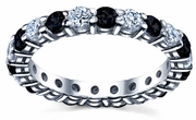 White Diamonds Black Diamonds Eternity Wedding Band