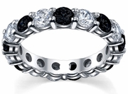 White Diamonds & Black Diamonds Eternity Wedding Ring