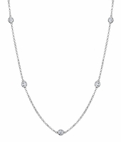 Bezel Set Diamond Necklace, G-H/I1, 1.25 cttw