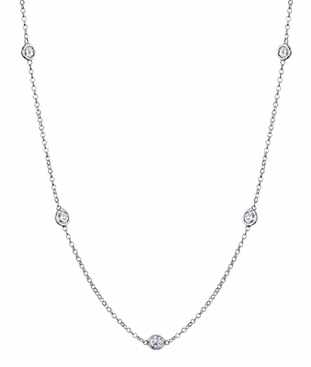 Bezel Diamond Necklace, G-H/I1, 0.50 cttw - click to enlarge