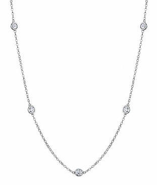 Station Diamond Necklace, G-H/I1, .70 cttw - click to enlarge