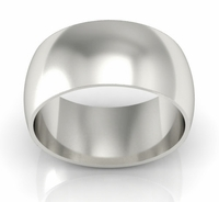 Domed Palladium 10 mm Wedding Ring