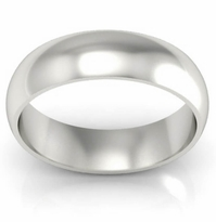 Domed Palladium Men's Ring in 6 mm