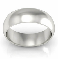 Domed Palladium Men's Wedding Ring in 7 mm
