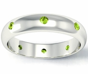 Domed Peridot Landmark Eternity Band