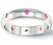 Domed Pink Sapphire Landmark Eternity Band
