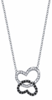 Double Diamond Heart Pendant with White & Black Diamonds