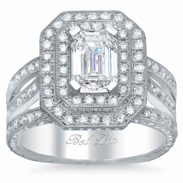 Double Halo Engagement Ring 2.30 cttw - click to enlarge