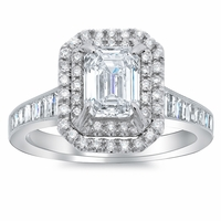 Double Halo Engagement Ring with Channel Set Baguette Tapered Band