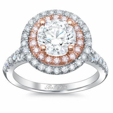 Double Halo Engagement Ring with Pink Diamonds for Round - click to enlarge