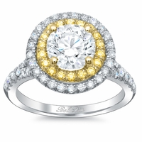 Double Halo Engagement Ring with Yellow Diamonds for Round