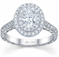 Double Halo Oval Engagement Ring with Milgrain and Pave Accents