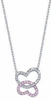Double Heart Pendant with Diamonds & Pink Sapphires 0.25cttw