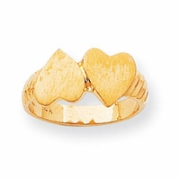 Double Heart Womens Signet Rings With Design