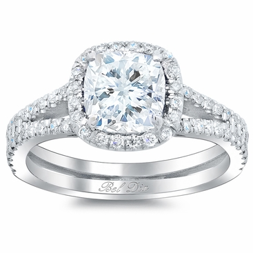 Double Shank Cushion Diamond Engagement Ring - click to enlarge