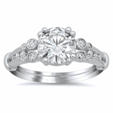 Double Shank Vintage Style Engagement Ring - click to enlarge
