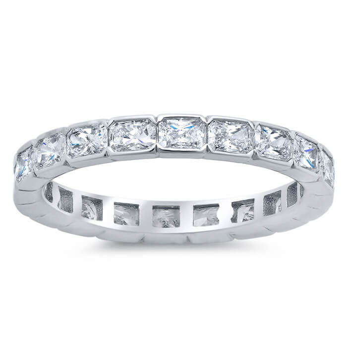 2 40cttw East West Radiant Cut Diamond Eternity Band