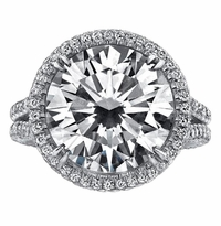 'Elizabeth' Halo Engagement Ring with Split Shank