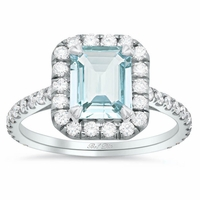 Emerald Cut Aquamarine Pave Diamond Halo Engagement Ring