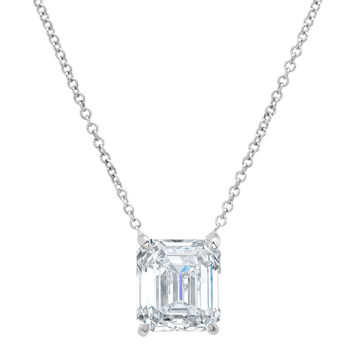 Emerald Cut Diamond Solitaire Necklace