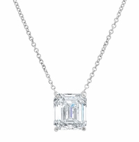 Floating solitaire necklaces diamond or gemstone emerald cut gemstone solitaire necklace emerald cut diamond solitaire necklace round diamond pendant aloadofball Images