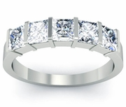 Princess Cut Diamond Five Stone Ring Certified by GIA