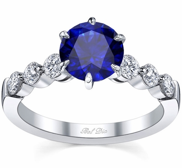 Engagement Ring with Round Blue Sapphire - click to enlarge