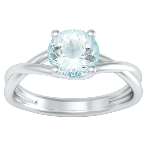 entwined solitaire aquamarine engagement ring