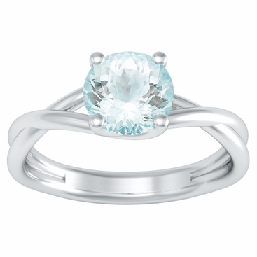 entwined solitaire aquamarine engagement ring click to enlarge - Aquamarine Wedding Rings