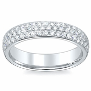 Eternity Bands With Pave Set Diamonds Three Row 4.5mm