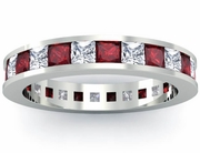 Eternity Birthstone Ring with Diamonds and Garnets