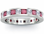Eternity Birthstone Ring with Diamonds and Rubies