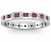 Eternity Ring with Garnets and Diamonds