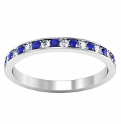 Eternity Ring with Pave Blue Sapphires and Diamonds (0.50 cttw)