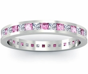 Eternity Ring with Pink Sapphires and Diamonds