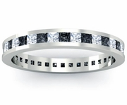Eternity Ring with White and Black Diamonds