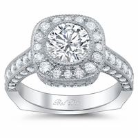Euro Shank Square Halo Engagement Ring for Round Diamond or Moissanite