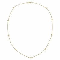Fancy Yellow Diamond Station Necklace with Nine Stones