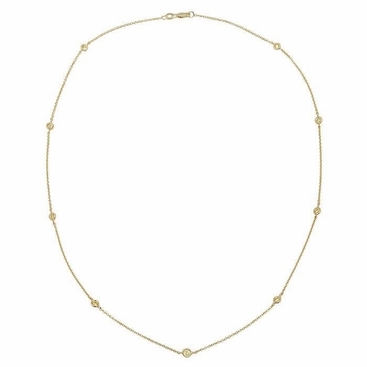 Fancy Yellow Diamond Station Necklace with Nine Stones - click to enlarge
