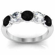 5 Stone Ring with Black Diamond and White Diamond Gemstones