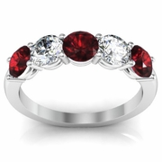 Five Stone Band with Garnet and Diamond Gem Stones